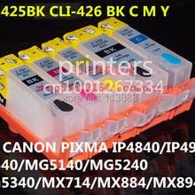 PGI-425 CLI426 перезаправляемый картридж для canon PIXMA IP4840 IP4940 IX6540 MG5140 MG5240 MG5340 MX714 MX884 MX894 5 цвет чернил