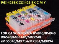 Cartucho de tinta recarregáveis para canon PIXMA IP4840 CLI426 PGI-425 IP4940 IX6540 MG5140 MG5240 MG5340 MX714 MX884 MX894 5 cor da tinta