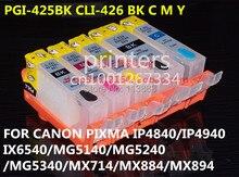 PGI 425 CLI426 refillable מחסנית דיו עבור canon PIXMA IP4840 IP4940 IX6540 MG5140 MG5240 MG5340 MX714 MX884 MX894 5 דיו צבע