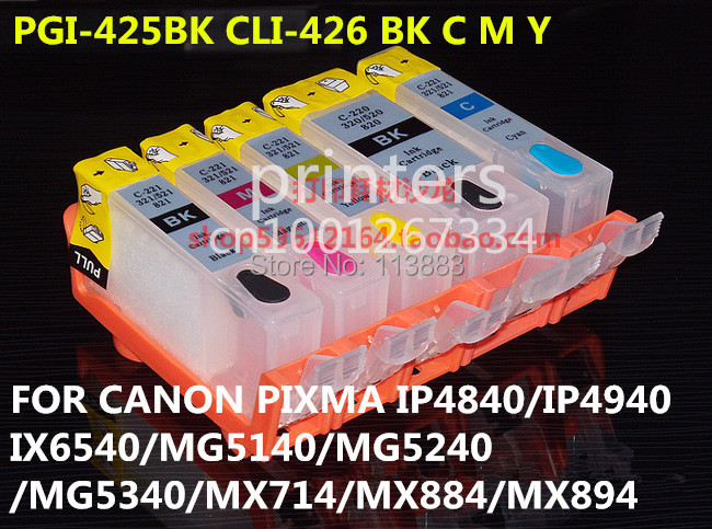 canon mg5340 cartridge - PGI-425 CLI426 refillable ink cartridge for canon PIXMA IP4840 IP4940 IX6540 MG5140 MG5240 MG5340 MX714 MX884 MX894 5 ink color