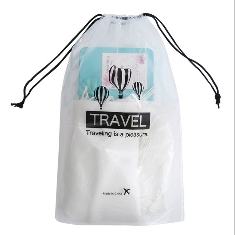 Travel Storage Drawstring Bags Small Waterproof Harness Pocket Transparent Clothing Underwear Bag 5 Per Pack Wash Supplies Pouch