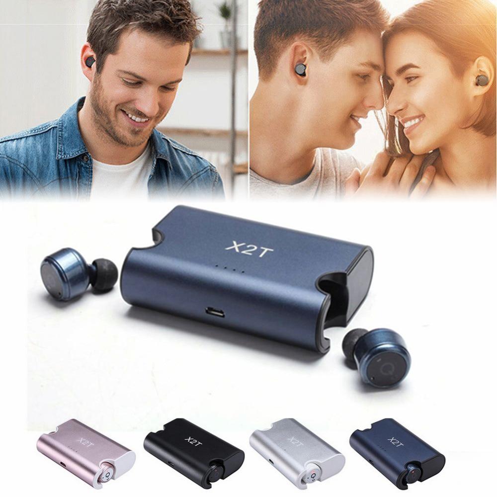 Mini X2T Double Twins True In-Ear Wireless Earbud Bluetooth V4.2 Headset Dual Stereo Earphone Super Sound built-in mic 2 in 1 wireless bluetooth earphone