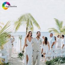 Custom Made Beach Wedding Beige Linen Men Suits for 2018 Classic Slim Fit Groom Tuxedo 2Pieces Vest+Pant Prom Wear