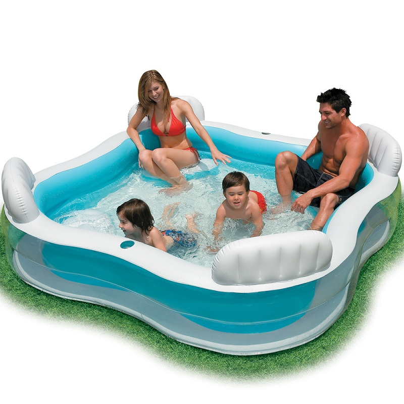 все цены на Inflatable Swimming Pool backrest with seat family swimming pool inflatable pool square Summer baby swimming pool 56475