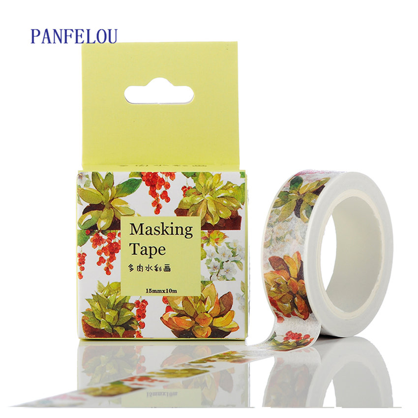 PANFELOU 1.5CMx10M watercolor cartoon Stickers border masking adhesive line paper washi tape DIY Scrapbooking Hand account