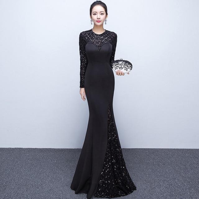 4d46273f352 Corzzet Black Cotton Sequined Long Sleeve Evening Dresses Long Mermaid Gowns  Patterns Formal dress Long Prom Dresses