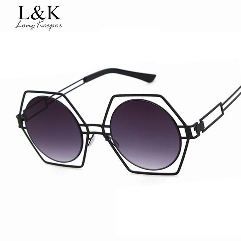 Long Keeper New Brand Design Hexagon Frame Round Lens Sunglasses For Women Fashion Shopping personality Women Sun Glasses UV400