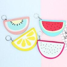 Children Cartoon Fruit Coin Purse Small Leather Mini Purse Wallet Cute Watermelon Lemon Zipper Credit Card Holder For Kids Gift