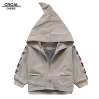 CROAL CHERIE 90 130cm Chinese Pattern Hooded Kids Boys Jacket Autumn Children Windbreaker Trech Coat For