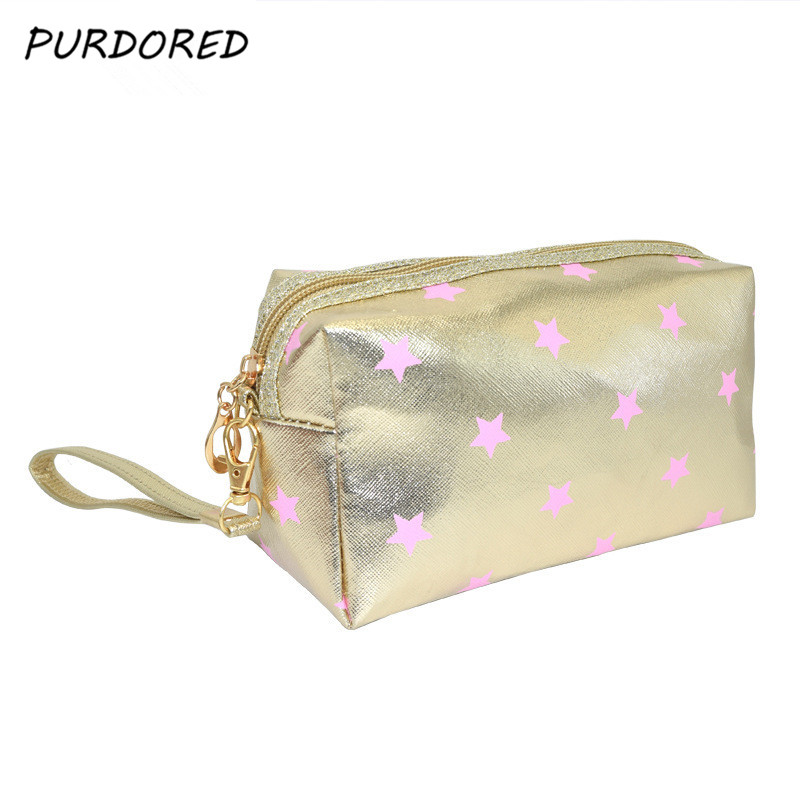 PURDORED 1 Pc Star Cosmetic Bag Pu Leather Women Gold Makeup Bag Travel Makeup Pouch Orgainzer  Cosmetic Wash Bag Dropshipping