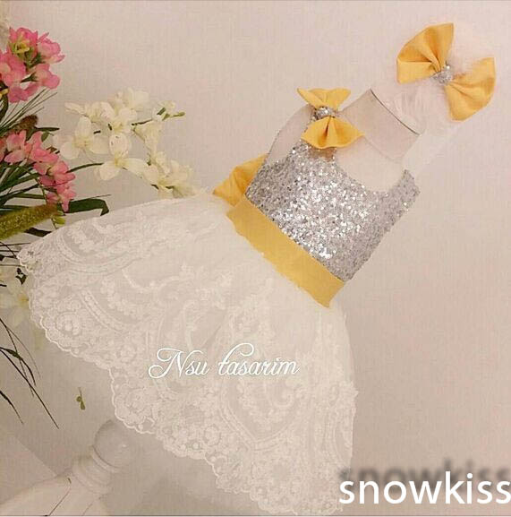 Bling Sequin Yellow Big Bow Knee-Length short Lace flower girl dresses infant baby 1 year birthday party occasion formal gownBling Sequin Yellow Big Bow Knee-Length short Lace flower girl dresses infant baby 1 year birthday party occasion formal gown