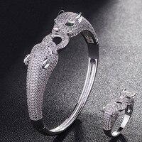 Statement Two Leopard Animal Bangle For Men Jewelry Brand Cubic Zirconia Love Bangle Anel Men Anniversary
