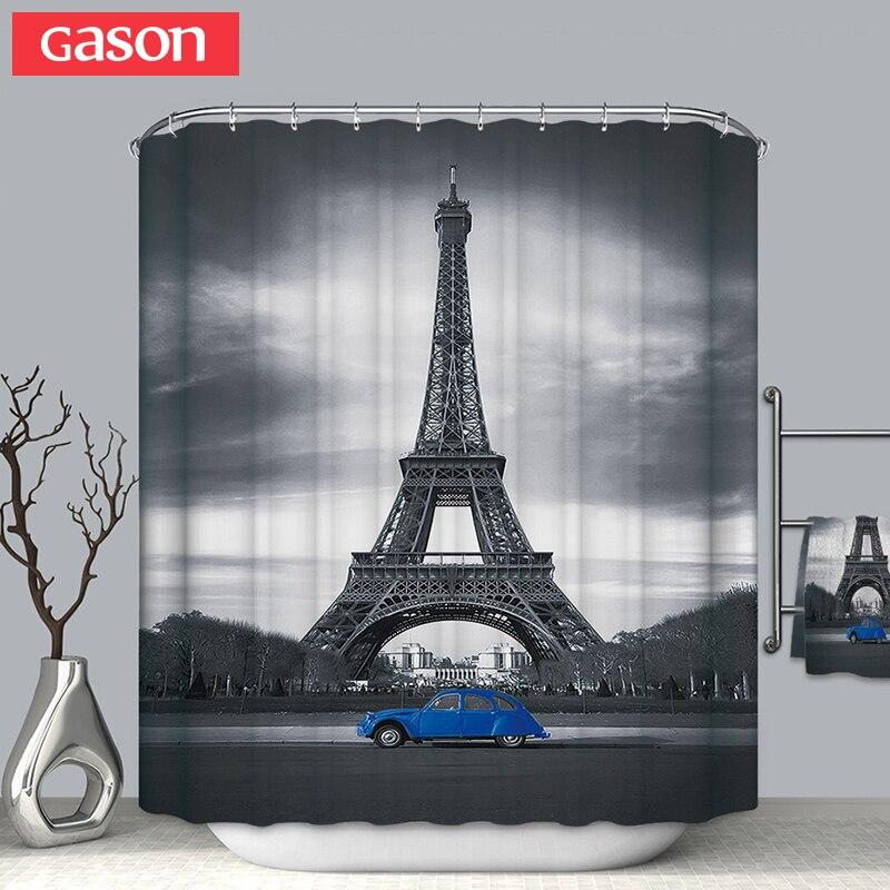 GASON salle de bains rideau qualité naturel polyester imperméable 2 m tissu 3D fcollege dormr simple rideau de douche salle de bains rideau