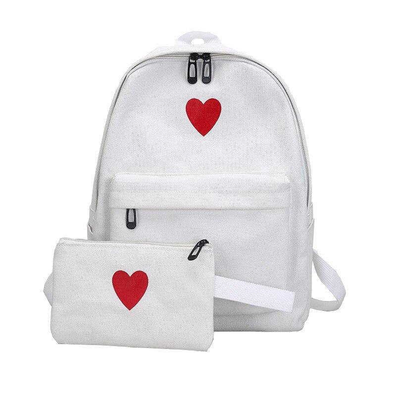 2 Pcs/Set Love Heart Printed Canvas Backpack Travel Bag Students Pencil Case School Shoulder Bags AB@W3