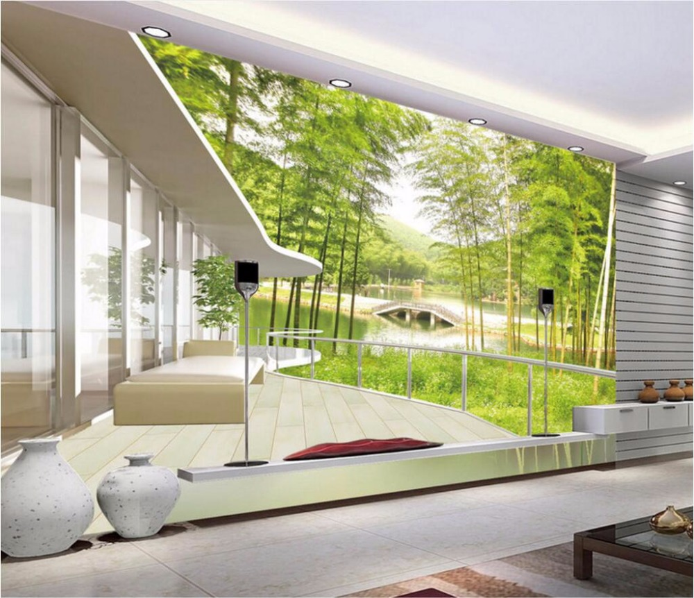 compare prices on bridge wall mural online shopping buy low price 3d wall murals wallpaper for living room walls 3 d photo wallpaper bamboo bridge scenery home