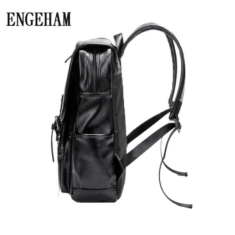 ENGEHAM модный мужской кожаный рюкзак мужской Высококачественный водонепроницаемый рюкзак 15,6 рюкзак для ноутбука рюкзак для путешествий школьный мешок
