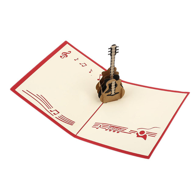 Popolare 3D Musica Pop UP Rock Guitar biglietto di Auguri di Compleanno  IH83