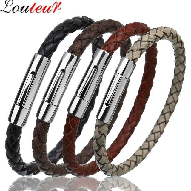 LOULEUR 2018 Genuine Leather Bracelet for Men Women Vintage Stainless Steel Wire Leather Male Bracelets Bangles Men Jewelry