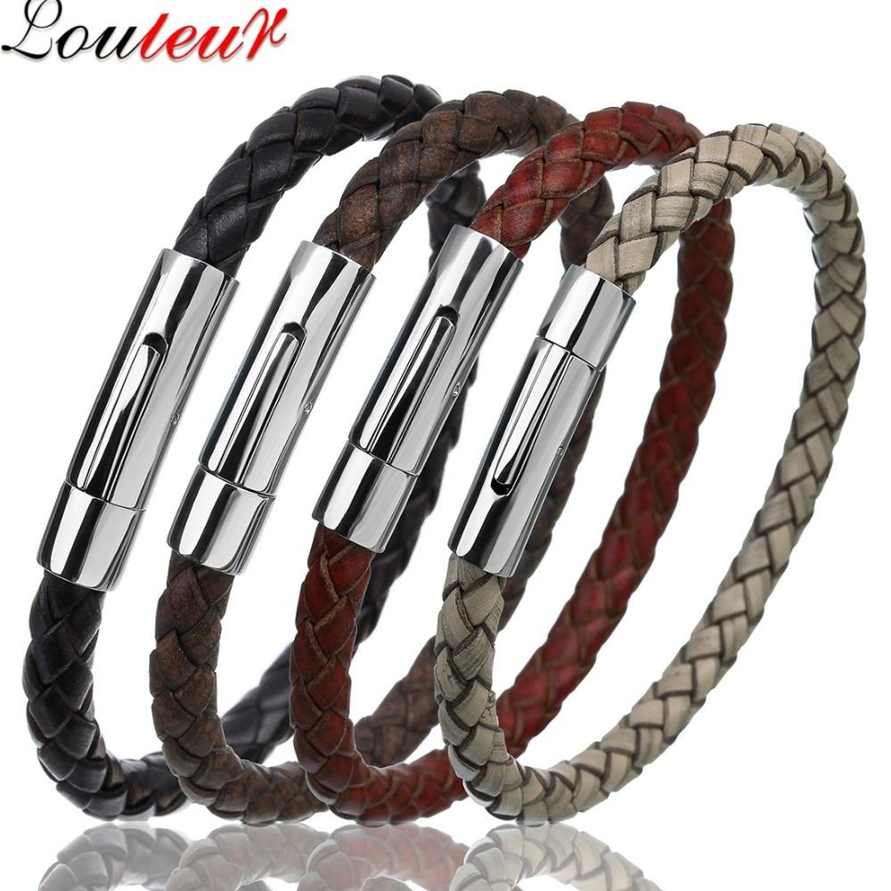 دستبند چرمی اصل LOULEUR برای مردان زنانه دستبند مردانه چرمی از جنس استنلس استیل ضدزنگ دستبند مردانه