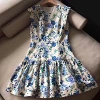 2019 Elegant Midi Dresses Sleeveless Summer Retro Vintage Floral Printed Dresses Elegant Fashion Dress Ruffled