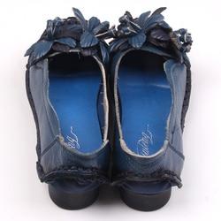 Xiuteng New National Wind Flowers Handmade Genuine Leather Shoes Women Retro Soft Bottom Flat Shoes Summer Canvas Ballet Flats 5