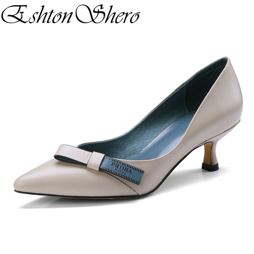 EshtonShero Shoes Woman Pumps Cow Leather+PUThin Med Heel Pointed Toe Platform Butterfly-Knot Ladies Wedding Shoes Size 34-39 цена