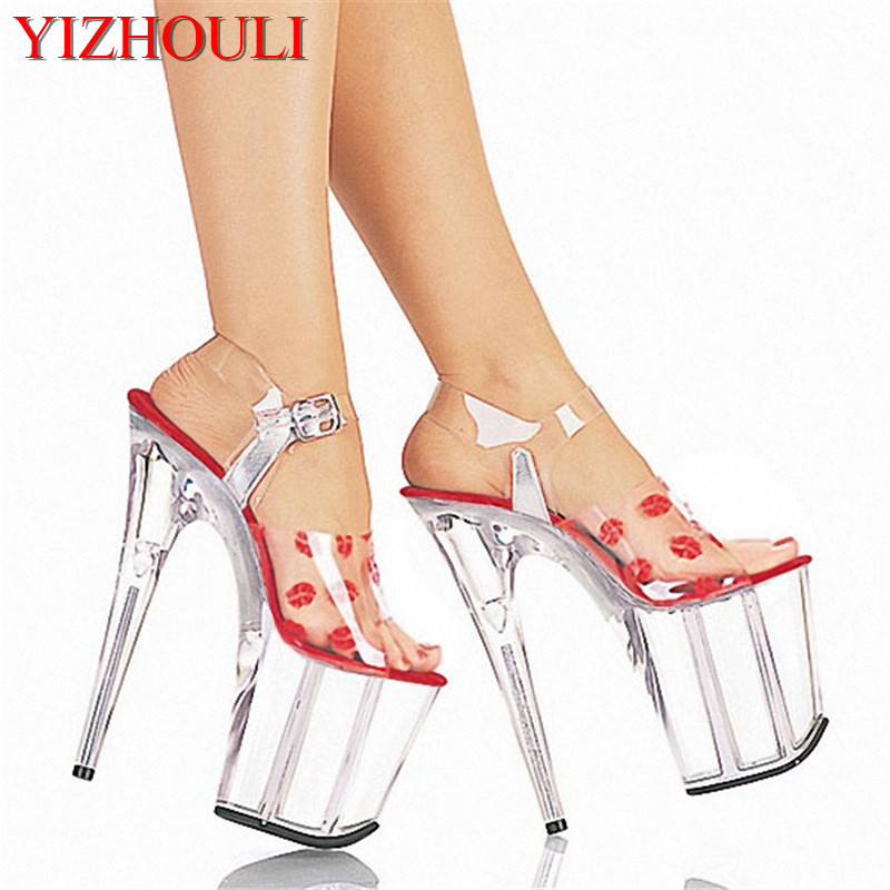 20cm women's shoes, sexy high heel sandals lips sexy sandals, pole dancing performance bride photo Dance Shoes