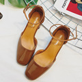 Spring Fashion Low Heels Shoes Thick Female High Heels Shoes Patent Leather Hollow Buckle Single Ankle Strap Sandals G8278-15