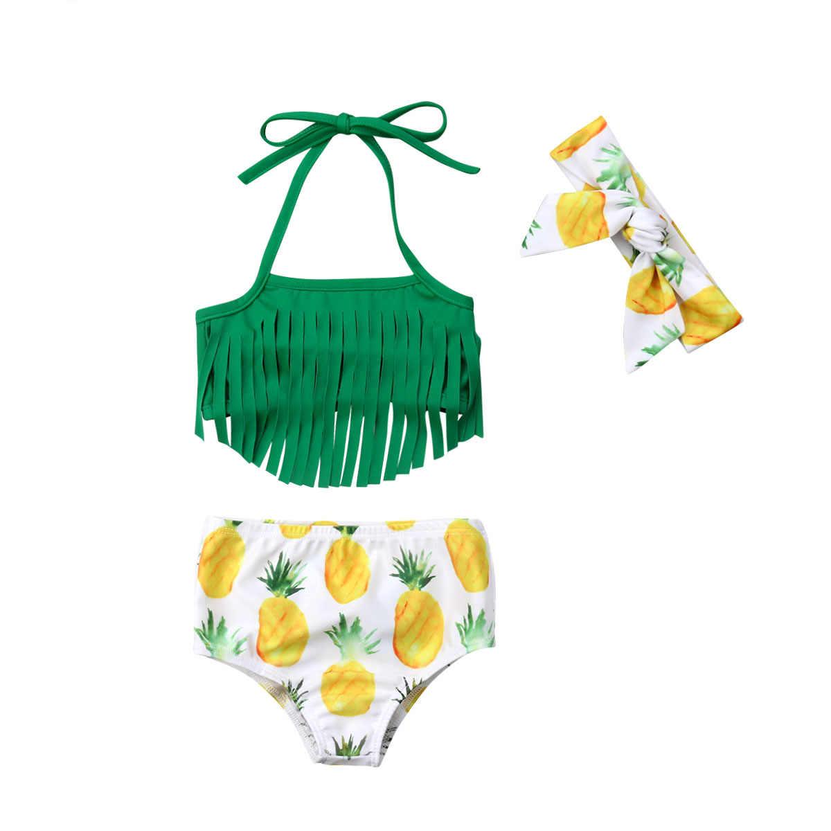 Nouveau-né Bébé Filles Enfant Bikini 3 pièces Glands Maillots De Bain Imprimé Ananas Halter Bandage Maillot De Bain Bandeau Maillot de bain Vêtements De Plage 0-2T