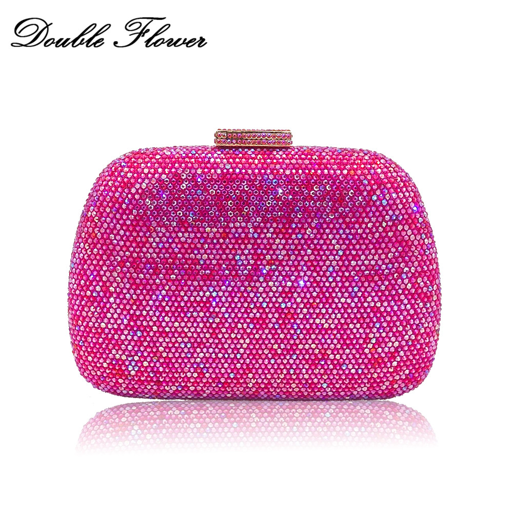 Double Flower Dazzling Fuchsia AB Crystal Women Evening Bags Hardcase Diamond Wedding Handbags Ladies Party Dinner