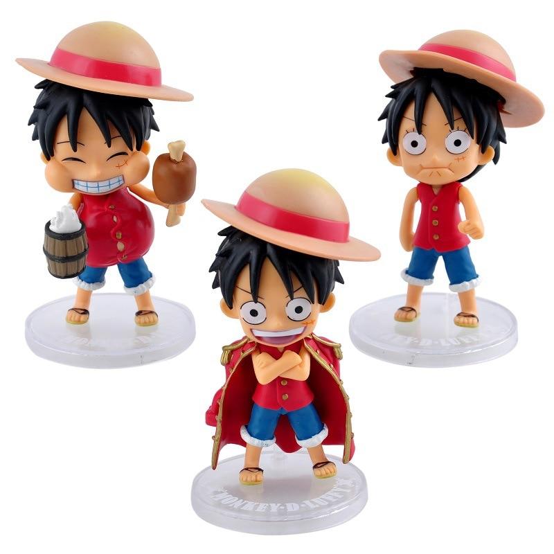 Anime One Piece Luffy Nendoroid Brinquedos PVC Action Figure Juguetes Figuras Model Doll Kids Toys 3pcs/set anime konosuba god s blessing on this wonderful world aqua 630 nendoroid doll pvc action figure collectible model toys