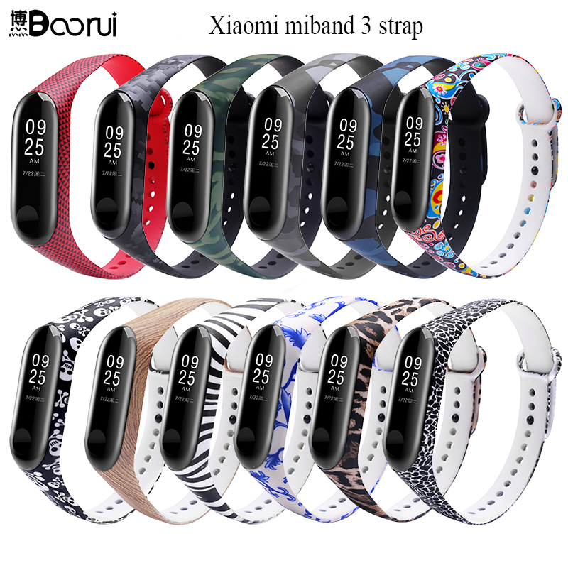 BOORUI Miband 3 Strap Mi band 3 Accessories Replacement silicone varied wrist strap for xiaomi mi 3 smart bracelets ethernet cable