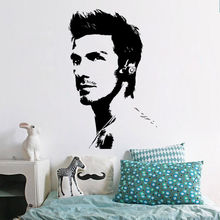 Free shipping famous footballer David Beckham fashion art Vinyl wall stickers living room bedroom decals home decor F-146