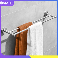 Doubel Towel Bar Stainless Steel Brushed Bathroom Holder Wall Mounted Rack Hanging Rail Storage Shelf