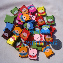 supply DIY fashion jewelry beads,jewelry accessory,cartoon wooden beads,cartoon bear,mix color