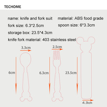 3pc/set Baby Dishes Stainless Steel Baby Spoon Fork Portable Box Set Cartoon Baby Feeding Food Training Tableware Children Spoon