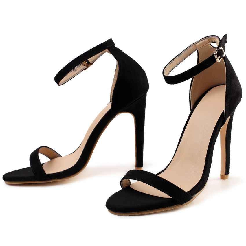 2019 אופנה קיץ נשים סנדל סקסי גבוהה עקבים סנדלי קרסול רצועת נעלי נשים בוהן ציוץ עקבים גבוהים המפלגה שמלת נעלי אישה