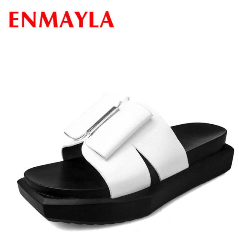 on sale df0fa 3d45f US $50.91 48% OFF|ENMAYLA Summer Genuine Leather Shoes Women Bow Flat  Platform Shoes Woman Slides Black White Outside Slippers Women-in Slippers  from ...