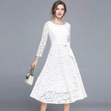 PADEGAO Women Summer Dress 2019 White Black Wrist Sleeves Slash Neck Mid-Calf Clothes Fashioon Elegant Lace A-Line Swing Dresses