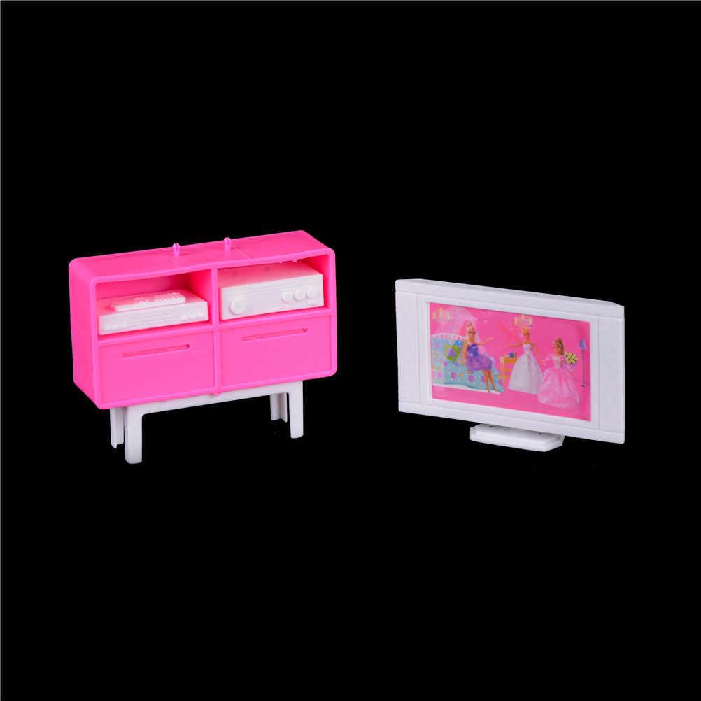Novedad a escala 1/12, mueble de casa de muñecas en miniatura de plástico, mueble de TV, DVD para muñecas Barbie, accesorios para muñecas, minimuebles, regalo