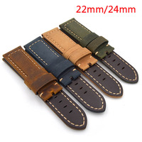 Matte Yellow Leather Watchband 22mm 24mm Retro Strap Handmade Men S Watch Straps For Panerai