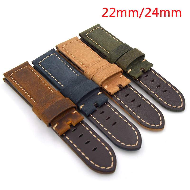 New 22mm 24mm Handmade Italian Retro Brown Green Yellow Blue Watch Band Genuine Leather Vintage Strap for PAM for panerai new arrive top quality oil red brown 24mm italian vintage genuine leather watch band strap for panerai pam and big pilot watch