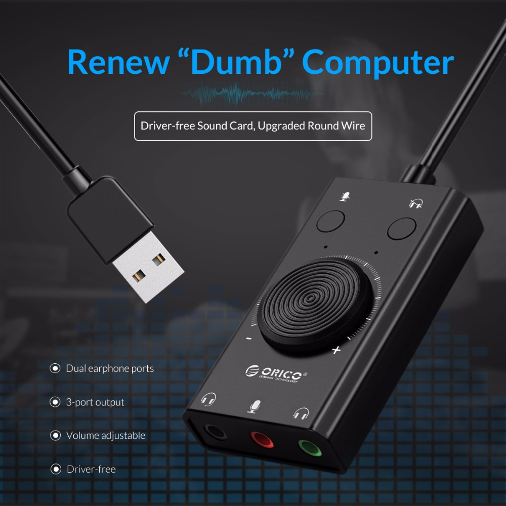 ORICO External USB Sound Card Stereo Mic Speaker Headset Audio Jack 3.5mm Cable Adapter Mute Switch Volume Adjustment Free Drive 2