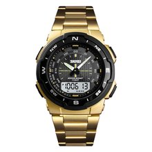 SKMEI Fashion Outdoor Sports Electronic Watch Student Steel Strap Double Display Waterproof Relogio