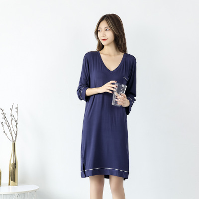 New arrival Cotton Women   Nightgowns     Sleepshirts   2019 Spring Autumn Nightdress Casual Home Clothes 3XL   Sleepshirts
