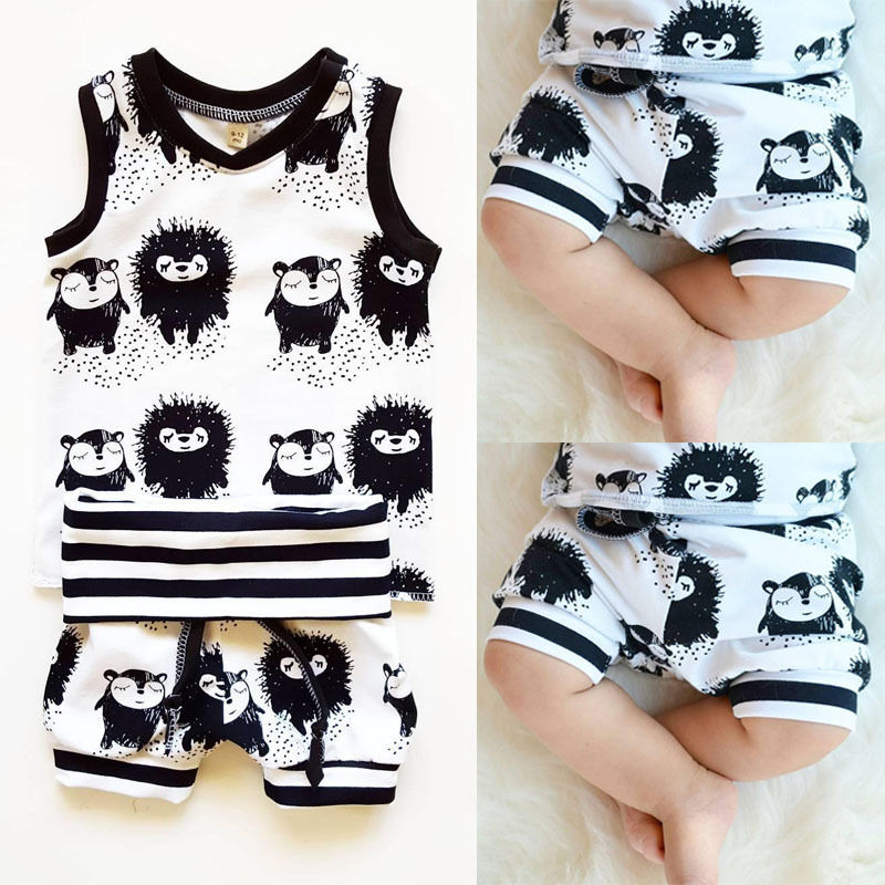 Topper Og Shorts Ermeløs Vest Kids Baby Boys Sommer Klær Set 2pcs Suit Cute Minions Cartoon Baby Boy Klær Sett