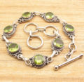 GREEN PERIDOT BRACELET 8 Inches !   Silver Plated Over Solid Copper