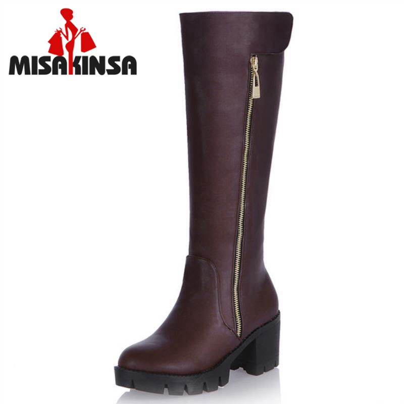 Women Over Knee Boots High Heel Winter Platform Riding Fashion Long Boot Warm Fashion Footwear Heels Shoes Size 34-43