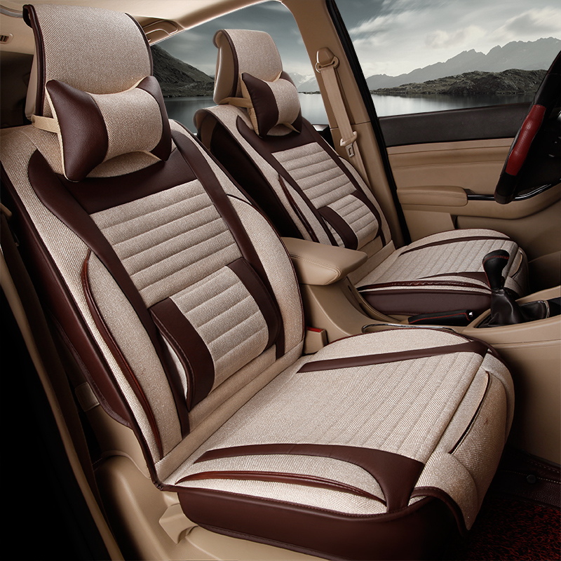 3D Overall Protection Business style 7 Seats Cushion Fiber Hemp Car Seat Cover For Almost seven Seats cars Do not machine wash