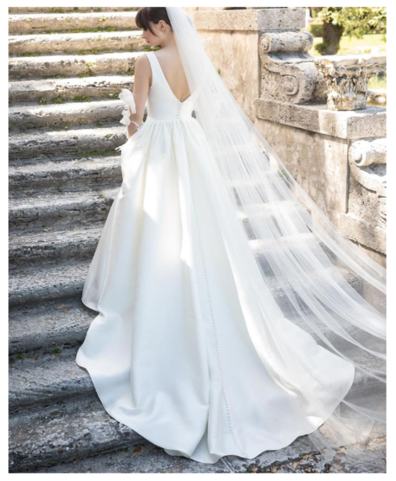 LORIE Wedding Dresses Satin Elegant V Neck Beach Bride Dress Floor Length Sexy Back Wedding Gown Hot Sale in Wedding Dresses from Weddings Events